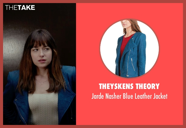 Theyskens Theory blue jacket from Fifty Shades of Grey seen with Dakota Johnson (Anastasia Steele)