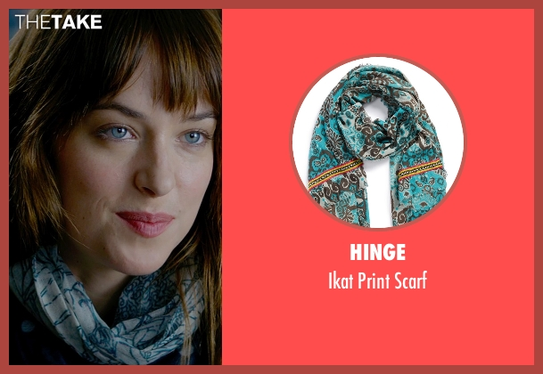 Hinge blue scarf from Fifty Shades of Grey seen with Dakota Johnson (Anastasia Steele)