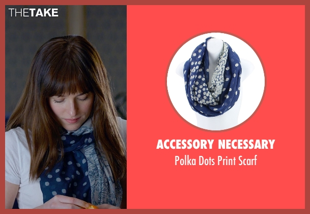 Accessory Necessary blue scarf from Fifty Shades of Grey seen with Dakota Johnson (Anastasia Steele)