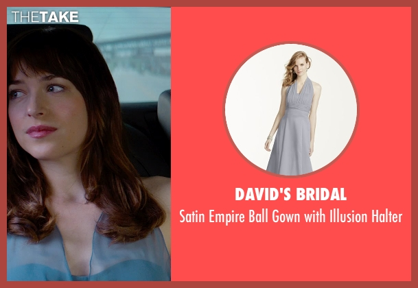 David's Bridal gray halter from Fifty Shades of Grey seen with Dakota Johnson (Anastasia Steele)