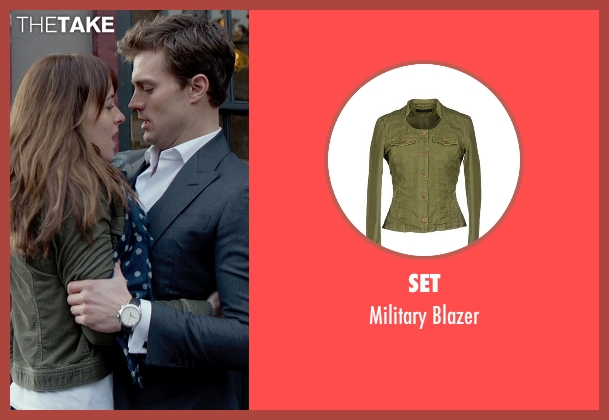 Set green blazer from Fifty Shades of Grey seen with Dakota Johnson (Anastasia Steele)