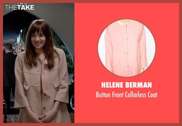 Helene Berman pink coat from Fifty Shades of Grey seen with Dakota Johnson (Anastasia Steele)