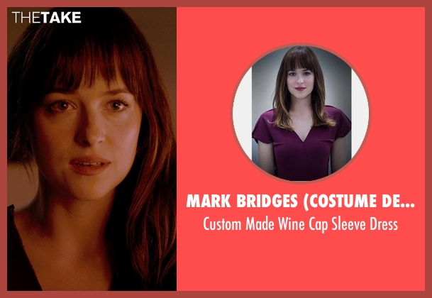 Mark Bridges (Costume Designer) purple dress from Fifty Shades of Grey seen with Dakota Johnson (Anastasia Steele)