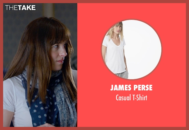 James Perse white t-shirt from Fifty Shades of Grey seen with Dakota Johnson (Anastasia Steele)