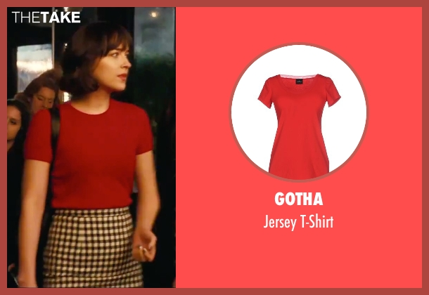 Gotha red t-shirt from How To Be Single seen with Dakota Johnson (Alice)