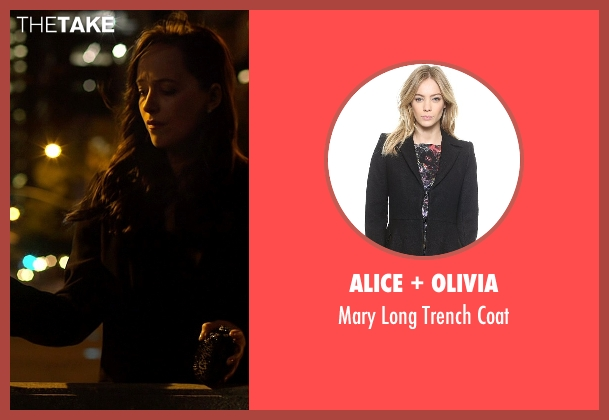 Alice + Olivia black coat from Need for Speed seen with Dakota Johnson (Anita)