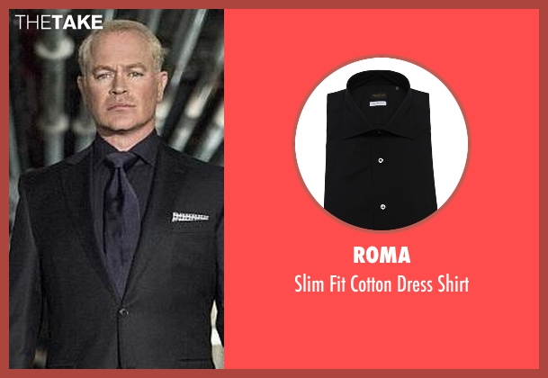 Roma black shirt from Arrow seen with Damien Darhk (Neal McDonough)