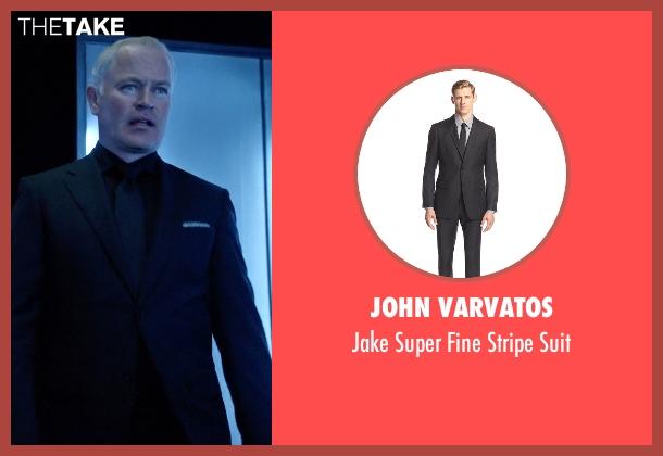 John Varvatos black suit from Arrow seen with Damien Darhk (Neal McDonough)