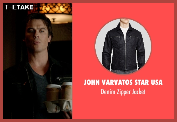 John Varvatos Star USA black jacket from The Vampire Diaries seen with Damon Salvatore (Ian Somerhalder)