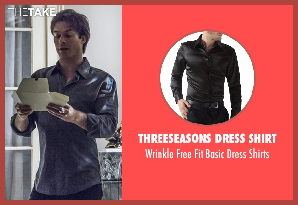 Threeseasons Dress Shirt black shirts from The Vampire Diaries seen with Damon Salvatore (Ian Somerhalder)