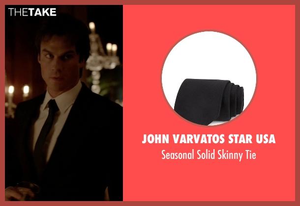 John Varvatos Star USA black tie from The Vampire Diaries seen with Damon Salvatore (Ian Somerhalder)