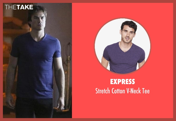 Express purple tee from The Vampire Diaries seen with Damon Salvatore (Ian Somerhalder)