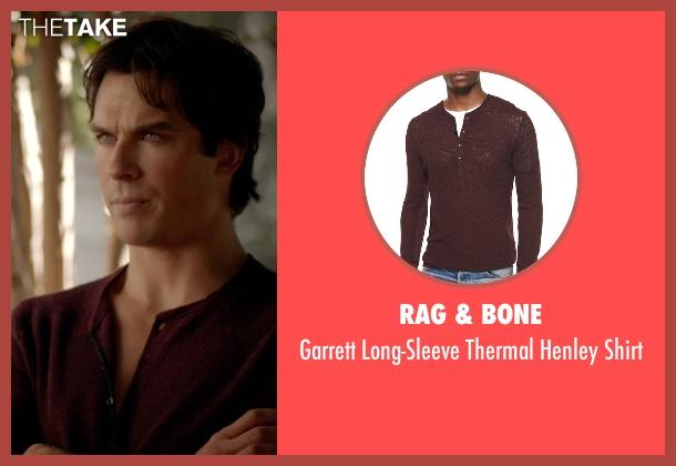 Rag & Bone red shirt from The Vampire Diaries seen with Damon Salvatore (Ian Somerhalder)