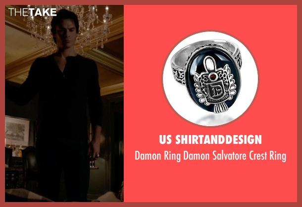 Us Shirtanddesign ring from The Vampire Diaries seen with Damon Salvatore (Ian Somerhalder)