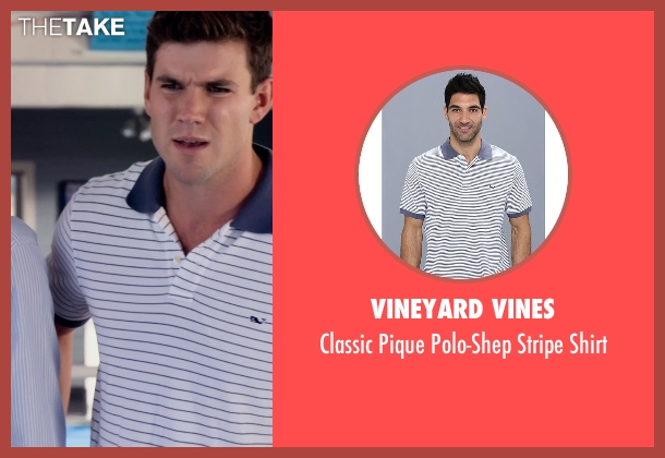 Vineyard Vines white shirt from Dolphin Tale 2 seen with Damon Sementilli (News Reporter)