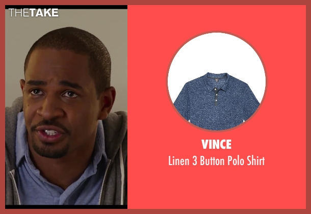 Vince blue shirt from Let's Be Cops seen with Damon Wayans Jr. (Justin)