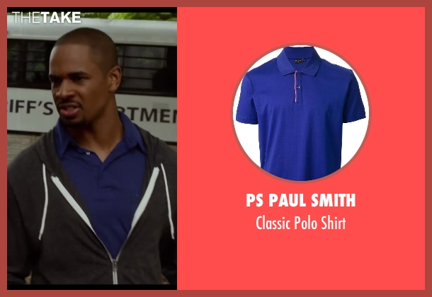 Ps Paul Smith blue shirt from Let's Be Cops seen with Damon Wayans Jr. (Justin)