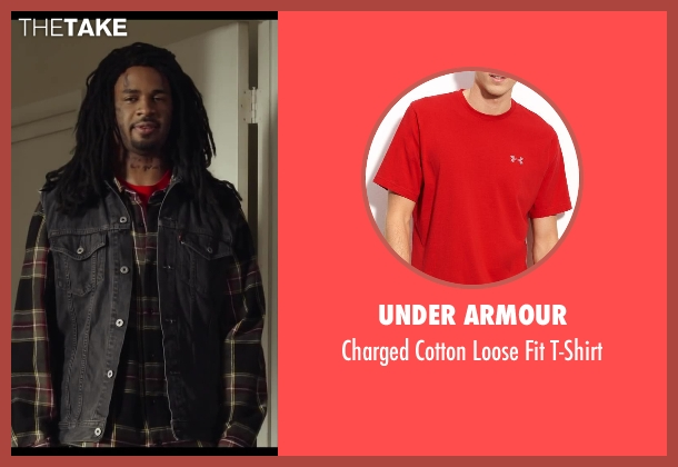 Under Armour red t-shirt from Let's Be Cops seen with Damon Wayans Jr. (Justin)