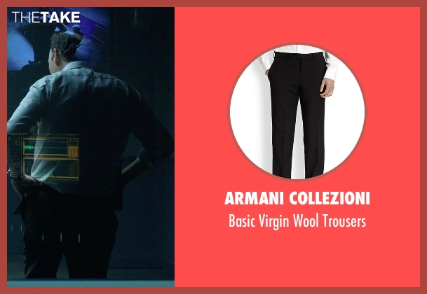 Armani Collezioni black trousers from Hitman: Agent 47 seen with Dan Bakkedahl (Unknown Character)