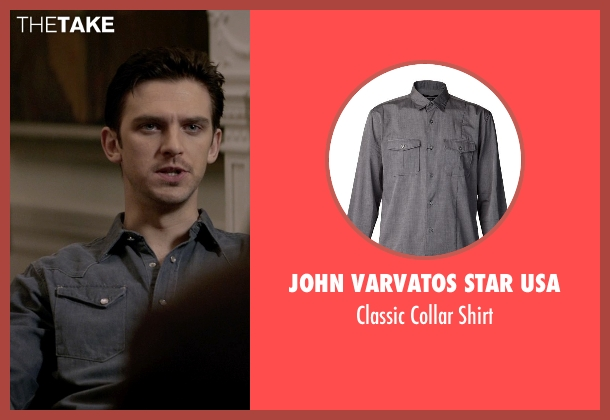 John Varvatos Star Usa gray shirt from A Walk Among The Tombstones seen with Dan Stevens