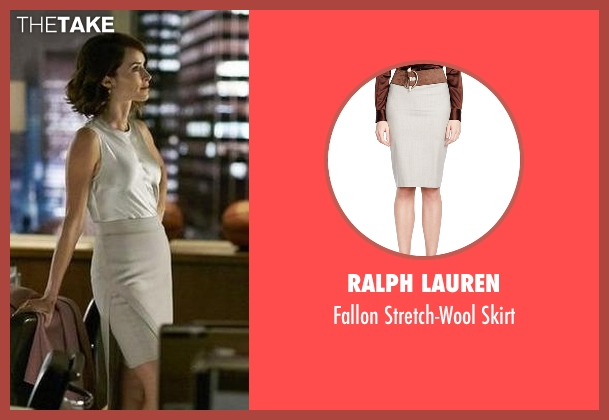 Ralph Lauren gray skirt from Suits seen with Dana Scott (Abigail Spencer)
