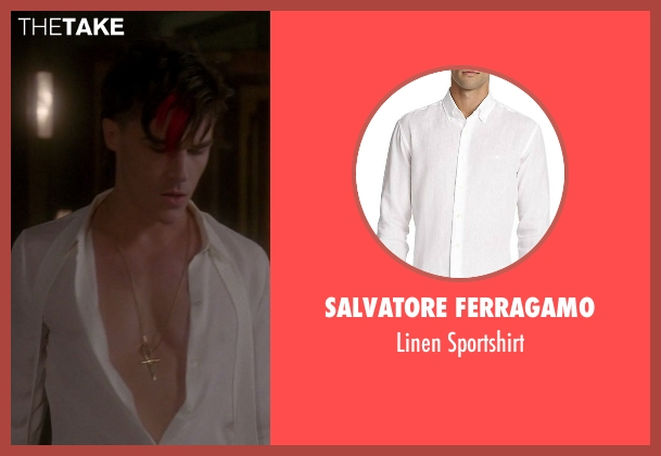 Salvatore Ferragamo white sportshirt from American Horror Story seen with Dandy Mott (Finn Wittrock)