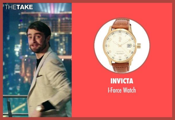 Invicta brown watch from Now You See Me 2 seen with Daniel Radcliffe (Walter)