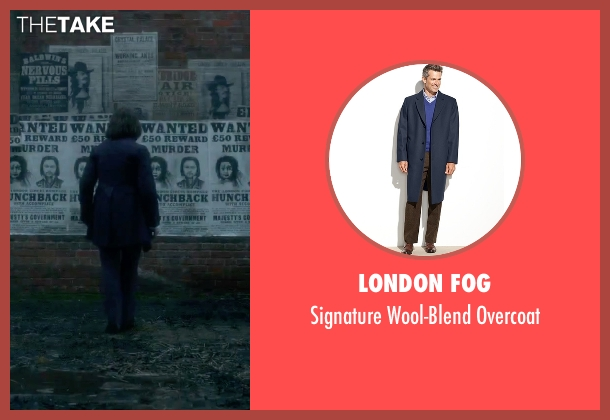 London Fog blue overcoat from Victor Frankenstein seen with Daniel Radcliffe (Igor)