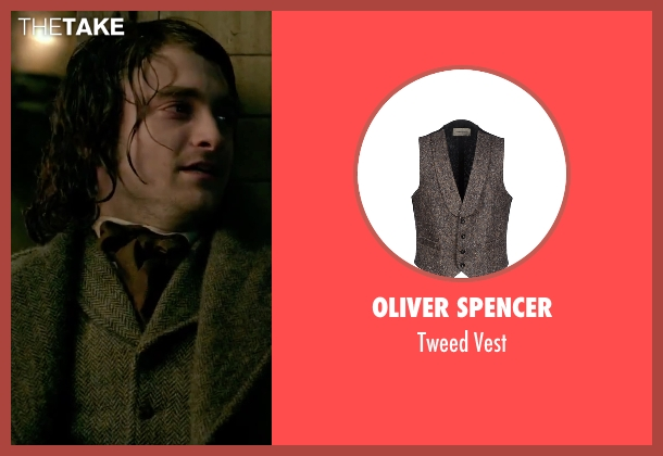 Oliver Spencer gray vest from Victor Frankenstein seen with Daniel Radcliffe (Igor)