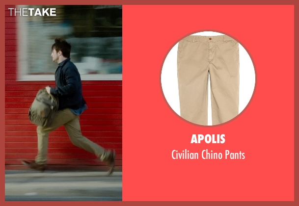 Apolis beige pants from What If seen with Daniel Radcliffe (Wallace)