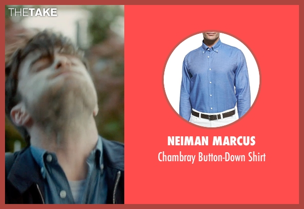 Neiman Marcus blue shirt from What If seen with Daniel Radcliffe (Wallace)