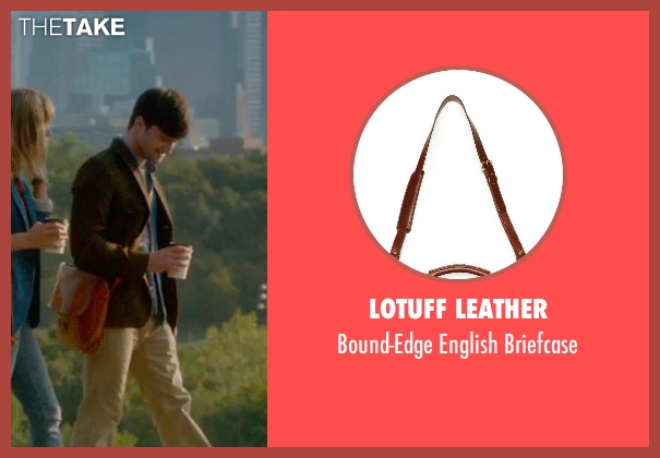 Lotuff Leather brown briefcase from What If seen with Daniel Radcliffe (Wallace)