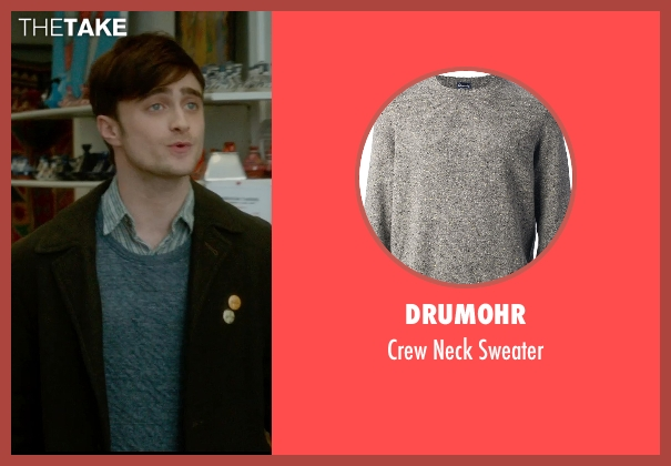 Drumohr gray sweater from What If seen with Daniel Radcliffe (Wallace)