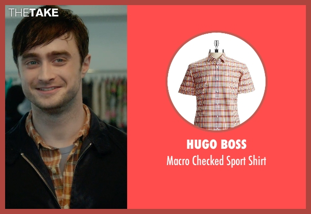 Hugo Boss orange shirt from What If seen with Daniel Radcliffe (Wallace)