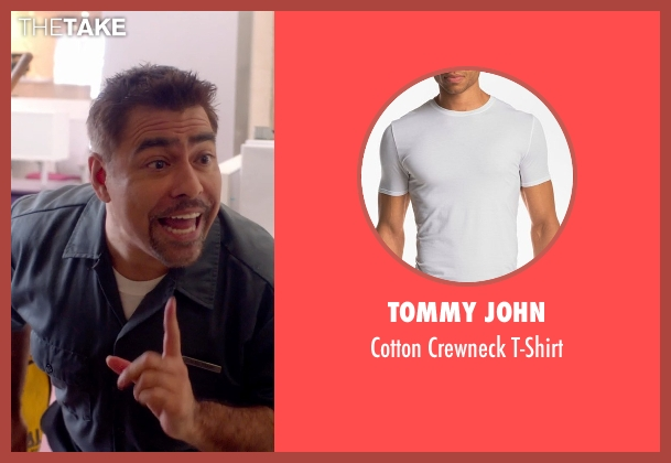 Tommy John white t-shirt from Top Five seen with Danny Bolero (Mexican Janitor)