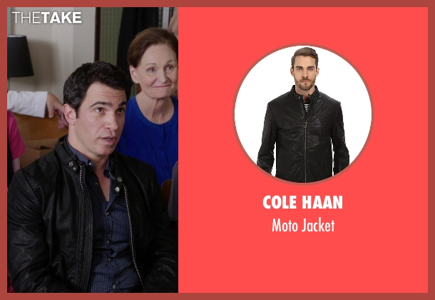 Cole Haan black jacket from The Mindy Project seen with Danny Castellano (Chris Messina)
