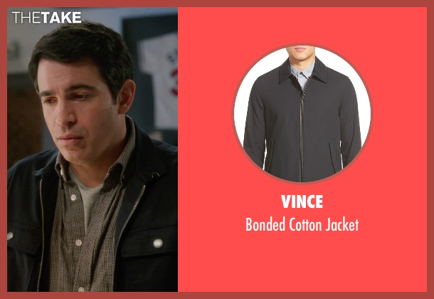 Vince black jacket from The Mindy Project seen with Danny Castellano (Chris Messina)