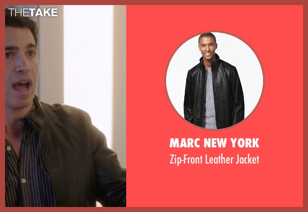 Marc New York black jacket from The Mindy Project seen with Danny Castellano (Chris Messina)