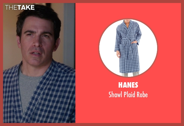 Hanes blue robe from The Mindy Project seen with Danny Castellano (Chris Messina)
