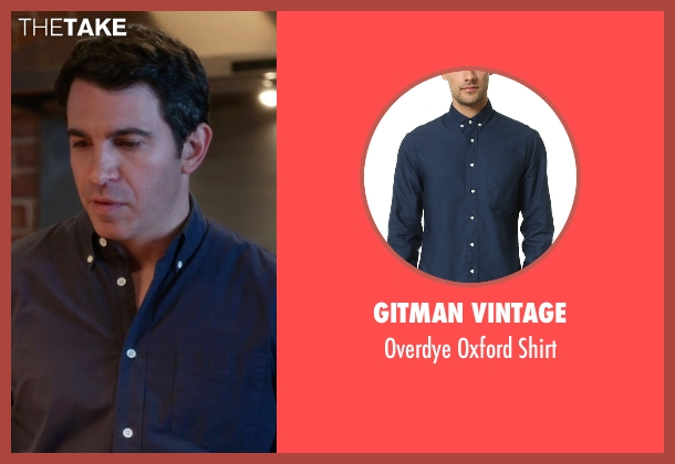Gitman Vintage blue shirt from The Mindy Project seen with Danny Castellano (Chris Messina)