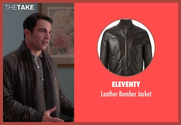 Eleventy brown jacket from The Mindy Project seen with Danny Castellano (Chris Messina)
