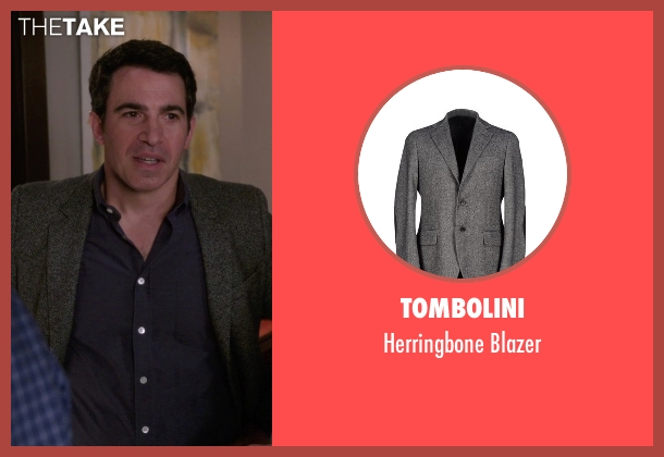 Tombolini gray blazer from The Mindy Project seen with Danny Castellano (Chris Messina)