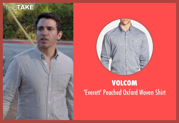 Volcom gray shirt from The Mindy Project seen with Danny Castellano (Chris Messina)