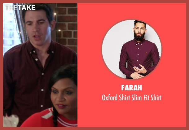 Farah red shirt from The Mindy Project seen with Danny Castellano (Chris Messina)