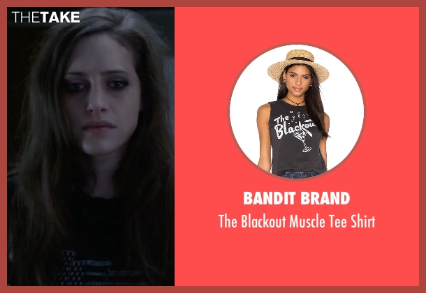 Bandit Brand black shirt from Mr. Robot seen with Darlene (Carly Chaikin)
