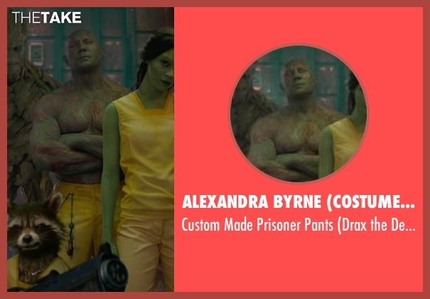 Alexandra Byrne (Costume Designer) yellow pants from Guardians of the Galaxy seen with Dave Bautista (Drax the Destroyer)