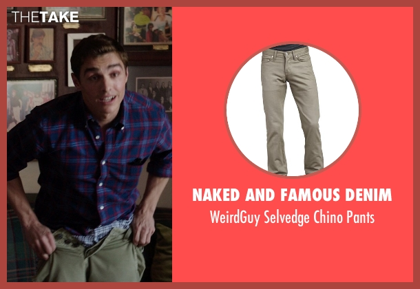 Naked and Famous Denim	 green pants from Neighbors seen with Dave Franco (Pete)