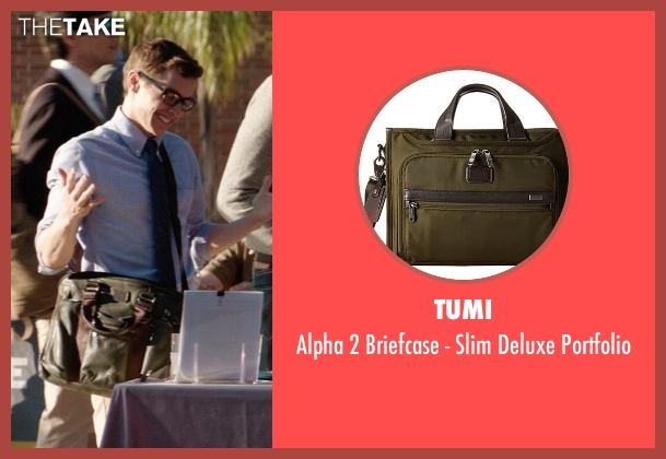 Tumi green portfolio from Neighbors seen with Dave Franco (Pete)