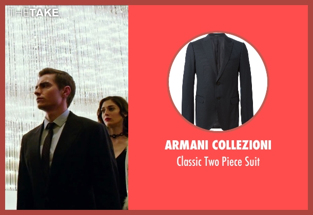 Armani Collezioni black suit from Now You See Me 2 seen with Dave Franco (Jack Wilder)