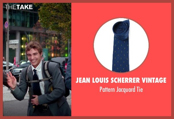 Jean Louis Scherrer Vintage blue tie from Unfinished Business seen with Dave Franco (Mike Pancake)